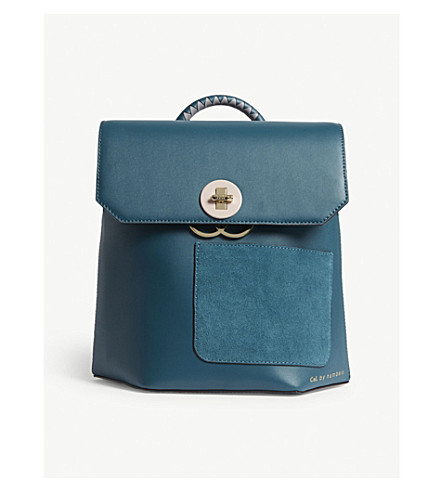 TED BAKER Keo leather backpack (Teal
