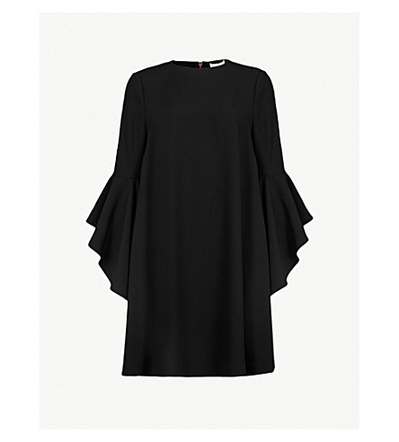 TED BAKER Ashleyy waterfall-sleeve crepe dress (Black