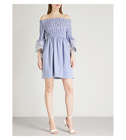 TED BAKER Embroidered stripe dress (White
