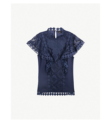 34944645b TED BAKER Ruffled lace-trimmed crepe top (Navy
