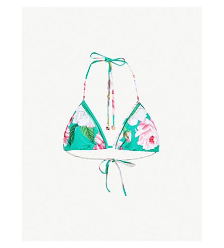 TED BAKER Ceskita Iguazu-print bikini top (Bright green