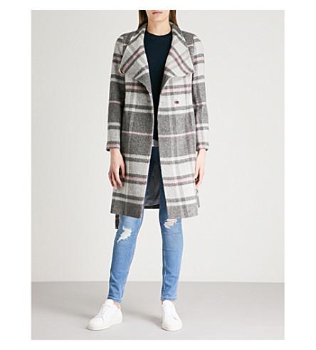 TED BAKER Fredye check woven wrap coat (Light+grey