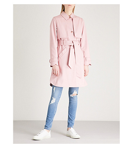 TED BAKER Scalloped cotton-blend coat (Pink