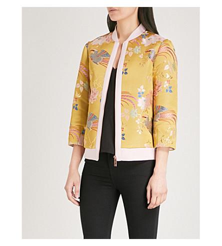 TED BAKER Dalale chinoiserie jacquard bomber jacket (Yellow