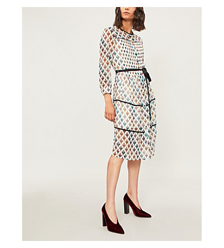 TED BAKER Colour By Numbers heart-print chiffon dress (Ivory