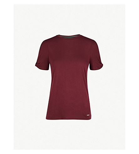 TED BAKER Colour By Numbers twisted-sleeve jersey T-shirt (Dark+red
