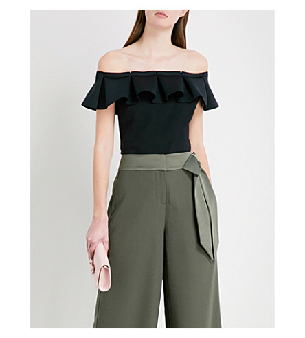TED BAKER Pleated Bardot jersey top (Black
