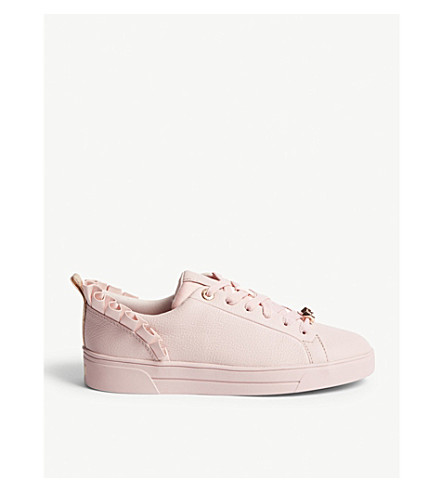 TED BAKER Astrina ruffled leather trainers (Dusky pink
