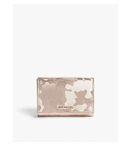 TED BAKER Eugenie small camouflage metallic leather purse (Rose+gold