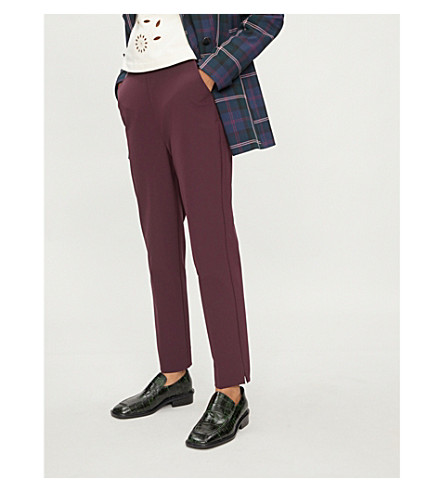 TED BAKER Ruffled stretch-crepe trousers (Deep+purple