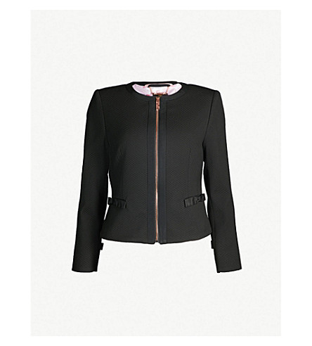 72d6c1295c38a4 ... TED BAKER Nadae cropped bow-detail woven jacket (Black. PreviousNext