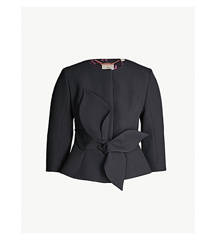 TED BAKER 3D bow-detail crepe jacket (Black