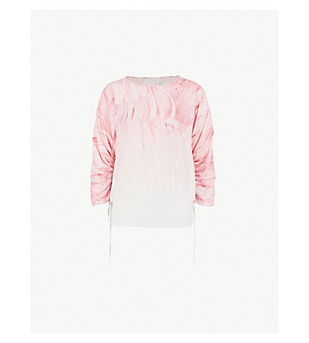 TED BAKER Avvi feather-print crepe top (Light+pink