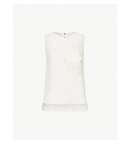 TED BAKER Kelliss sculpted bow crepe top (Ivory