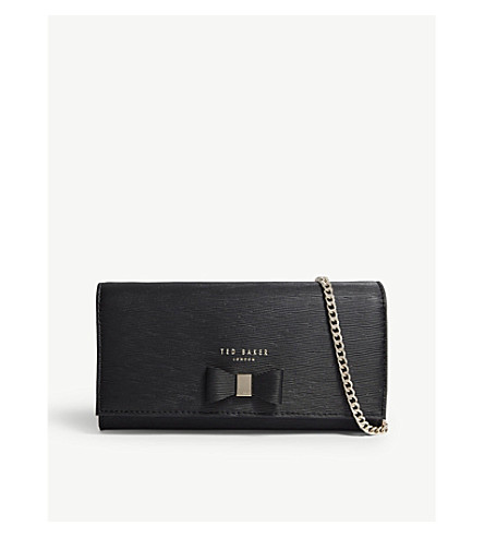 TED BAKER Abriana bow detail leather clutch (Black