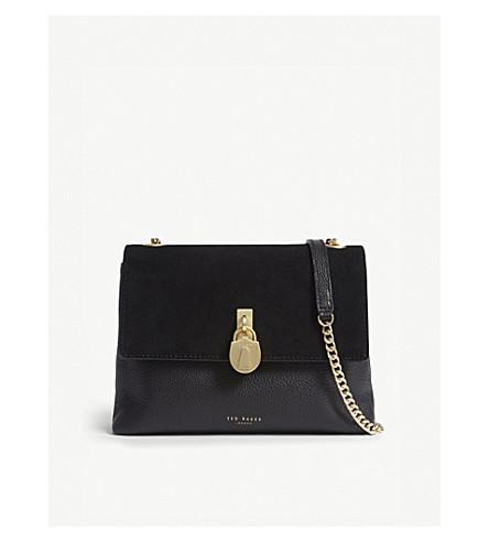 TED BAKER 海伦娜绒面革和皮革斜挎包 (黑色