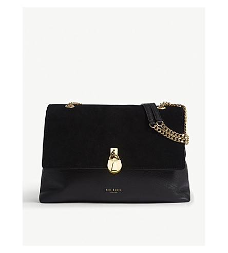 TED BAKER Hermiaa suede and leather shoulder bag (Black