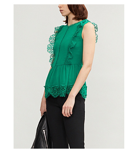TED BAKER Peplum-下摆蕾丝和雪纺顶部 (明亮 + 绿色