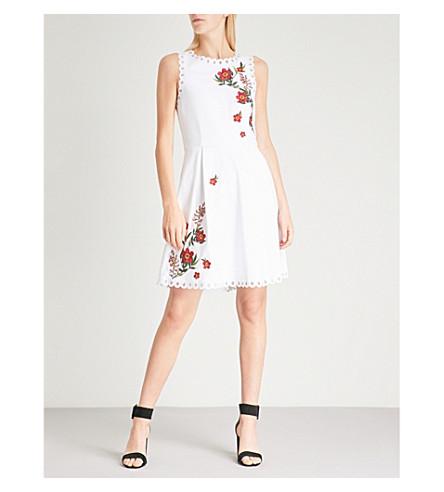 TED BAKER Kristil Kirstenbosch embroidered jersey mini dress (White