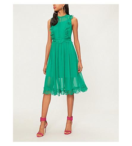 TED BAKER Porrla frilled woven midi dress (Bright+green