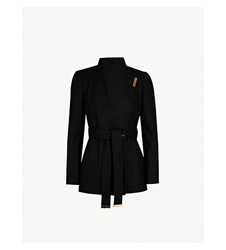 TED BAKER Rytaa high-neck wool-blend coat (Black