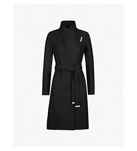 TED BAKER Sandra wool-blend wrap coat (Black