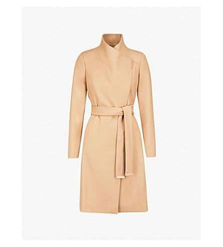 TED BAKER Sandra wool-blend wrap coat (Camel