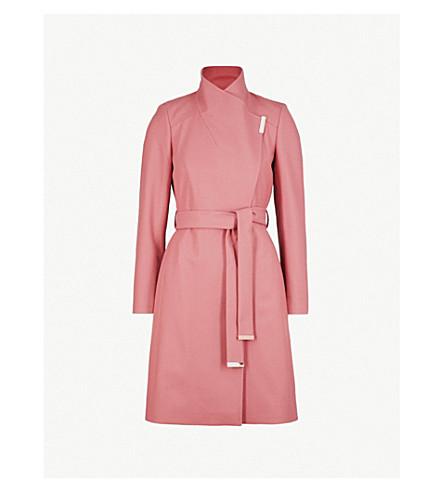 TED BAKER Sandra wool-blend wrap coat (Coral