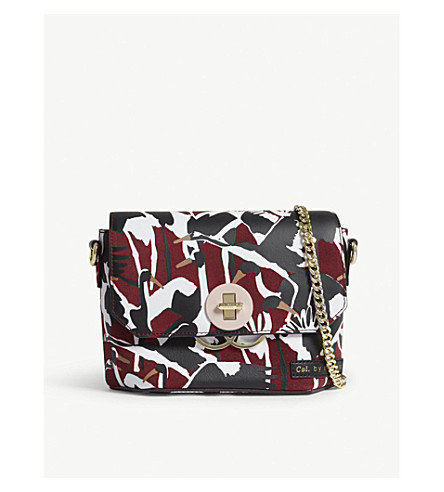 TED BAKER Bellish crane-print suede cross-body bag (Dark+red