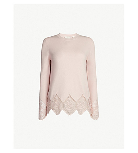 3450a811b TED BAKER Floral-lace trimmed wool-blend jumper (Nude+pink