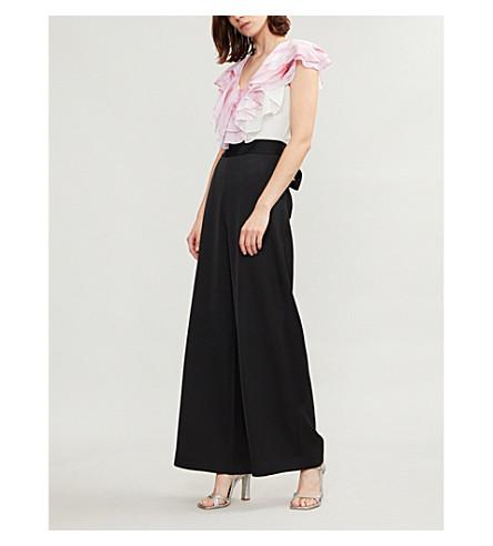 TED BAKER Jeene 天使瀑布打印雪纺和缎布连身裤 (黑色