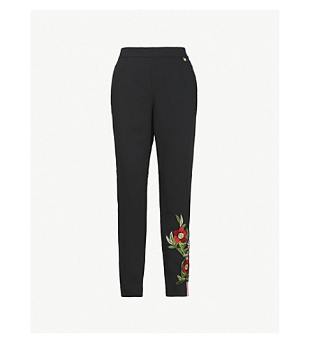 TED BAKER Madlyne Kirstenbosch embroidered side-stripe crepe jogging bottoms (Black