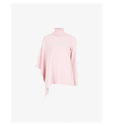 TED BAKER Asymmetric knitted jumper (Dusky+pink
