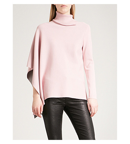 TED BAKER Asymmetric knitted jumper (Dusky+pink
