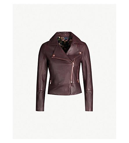 TED BAKER Asymmetric leather jacket (Deep purple