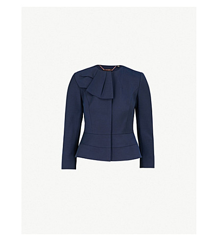 TED BAKER Rayal bow-detail woven jacket (Dark+blue