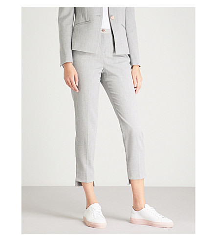 TED BAKER Stepped-hem straight woven trousers (Grey