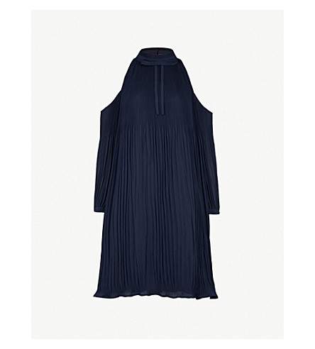 TED BAKER Cold-shoulder pleated dress (Navy
