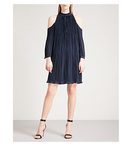 TED BAKER Cold-shoulder pleated dress (Navy