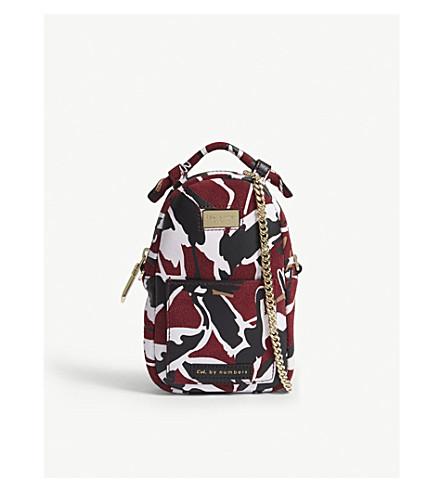 TED BAKER Callee crane-print suede cross-body bag (Dark+red