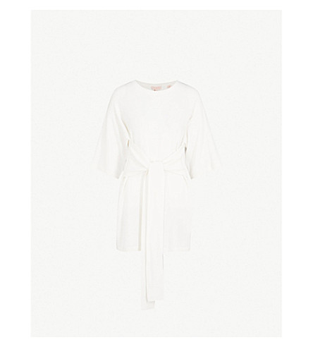 TED BAKER Ted Says Relax tie-front knitted tunic (Ivory