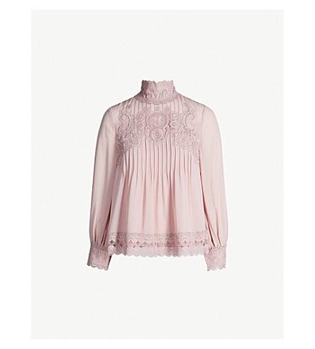 TED BAKER Cailley 蕾丝细褶 BLOUSE (淡 + 粉红色