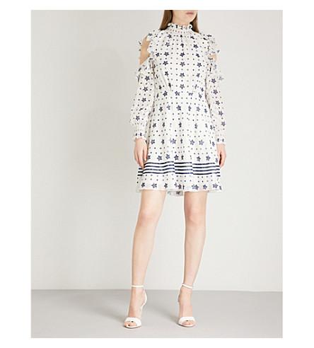 TED BAKER Star print open shoulder chiffon dress (White