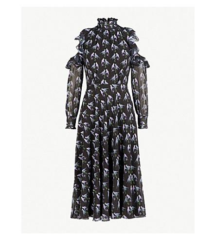 TED BAKER Love Birds cold-shoulder chiffon dress (Black