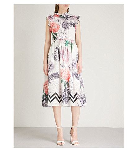 TED BAKER Ruffle floral print dress (White