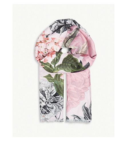 TED BAKER Palace Gardens floral scarf (Dusky+pink