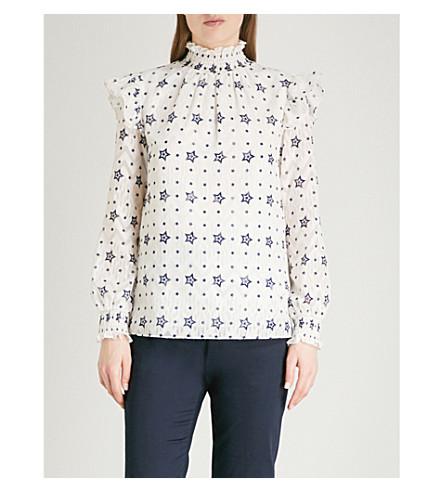 TED BAKER Star ruffle high neck blouse (White