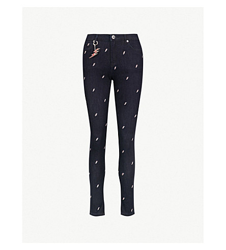 TED BAKER Laurle lightning-embroidered skinny mid-rise jeans (Dark+wash