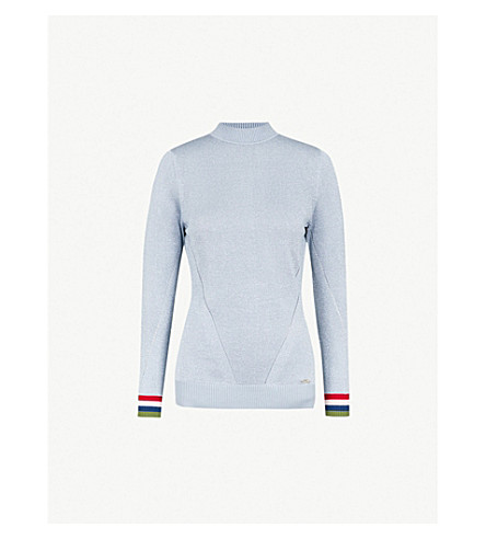 TED BAKER Alexxaa metallic-knitted jumper (Light+blue