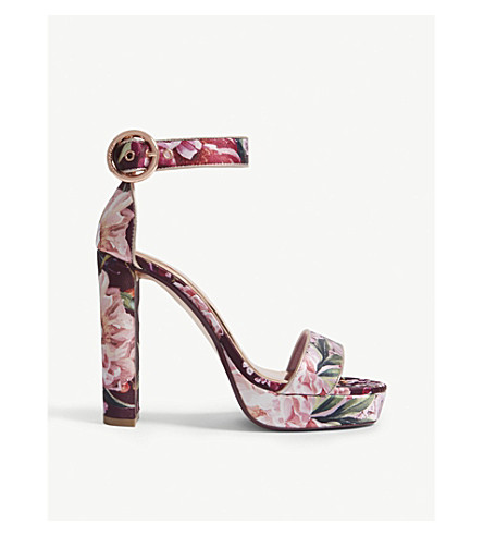 TED BAKER Jewll 2 floral leather platform sandals (Pale pink
